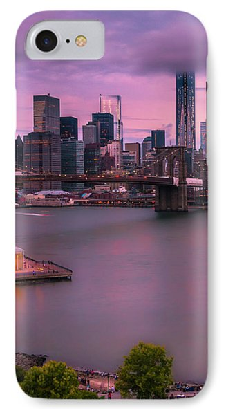 IPhone Case featuring the photograph Brooklyn Bridge World Trade Center In New York City by Ranjay Mitra