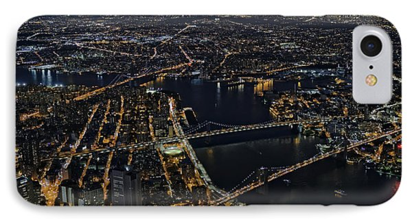 Brooklyn Manhattan And Williamsburg Bridges Aerial View IPhone Case by Susan Candelario