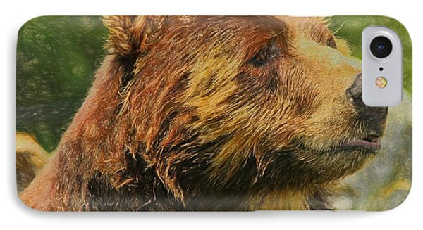 Brown Bear Portrait IPhone Case by Dan Sproul