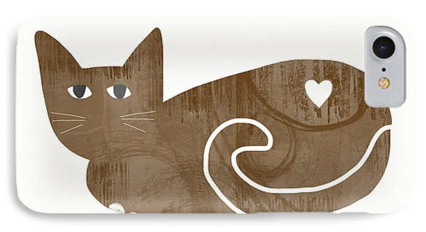 Brown Cat- Art By Linda Woods IPhone Case by Linda Woods
