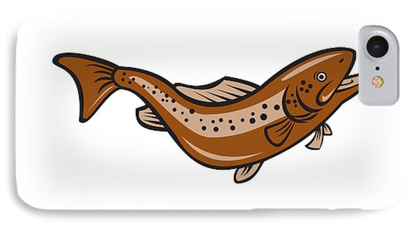 Brown Spotted Trout Jumping Cartoon IPhone Case by Aloysius Patrimonio