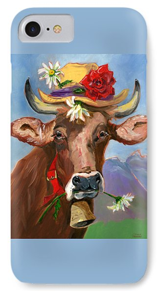 IPhone Case featuring the painting Brown Swiss In Summer Hat by Susan Thomas