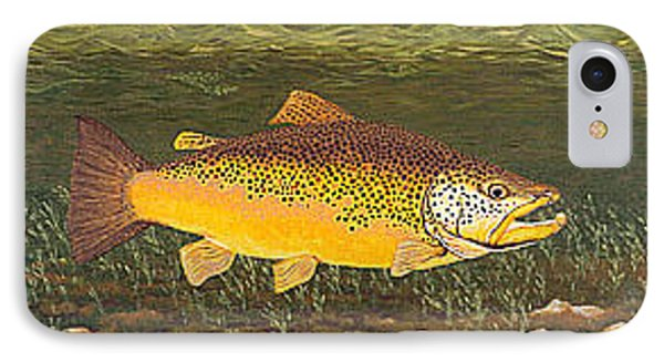 Brown Trout Fish Art Print Touch Down Brown Trophy Size Football Shape Brown Trout Angler Angling Phone Case by Baslee Troutman