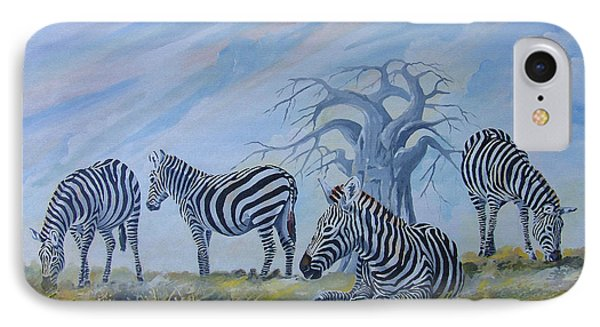 IPhone Case featuring the painting Browsing Zebras by Anthony Mwangi