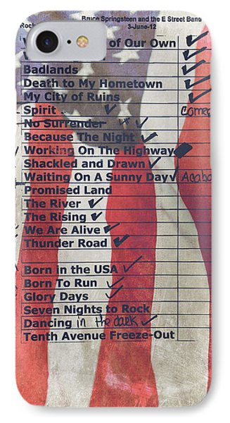 Bruce Springsteen Setlist At Rock In Rio Lisboa 2012 IPhone Case by Marco Oliveira