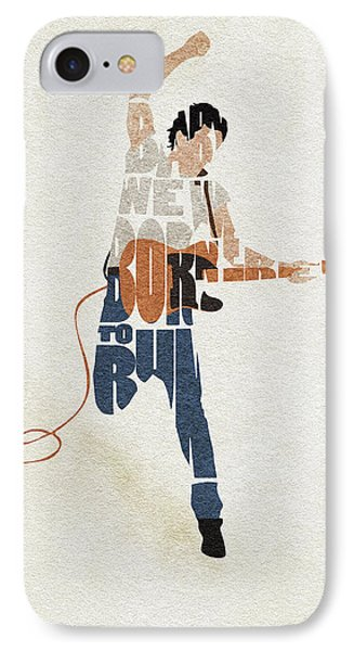 Folk Art iPhone 7 Case - Bruce Springsteen Typography Art by Inspirowl Design