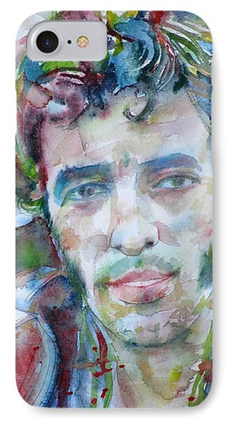 Bruce Springsteen - Watercolor Portrait.12 IPhone Case by Fabrizio Cassetta