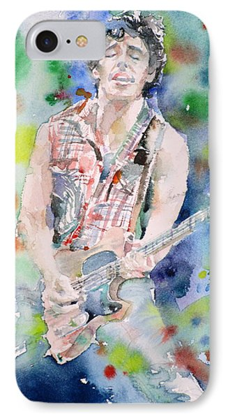 Bruce Springsteen - Watercolor Portrait.4 IPhone Case by Fabrizio Cassetta