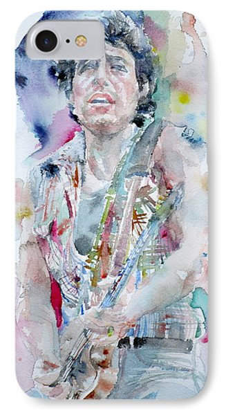Bruce Springsteen - Watercolor Portrait.5 IPhone Case by Fabrizio Cassetta
