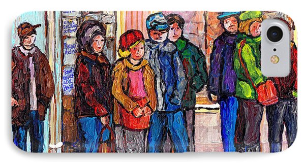 Brunch Line Up Beauty's Cafe Winter City Scene Montreal Art Canadian Painting Carole Spandau IPhone Case by Carole Spandau