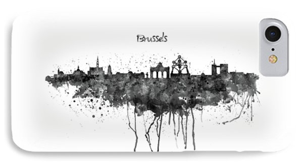Brussels Black And White Skyline Silhouette IPhone Case by Marian Voicu