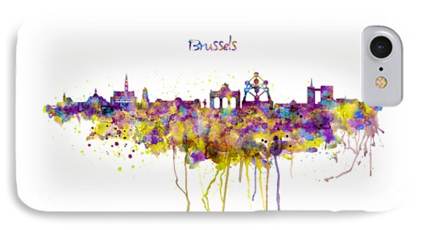 Brussels Skyline Silhouette IPhone Case by Marian Voicu
