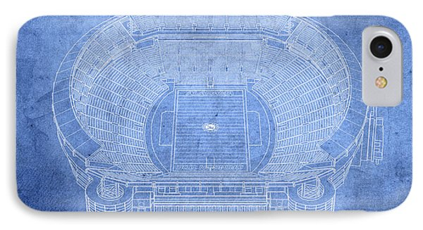 Bryant Denny Stadium Alabama Crimson Tide Football Tuscaloosa Field Blueprints IPhone Case by Design Turnpike