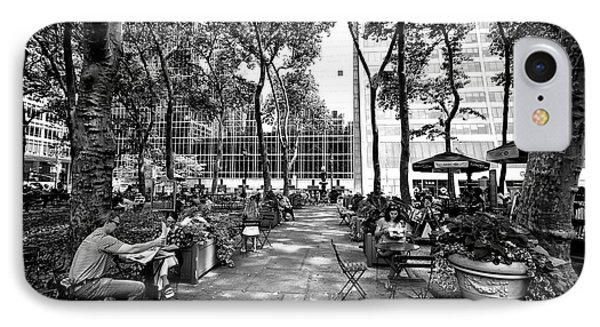 Bryant Park Reading IPhone Case by John Rizzuto