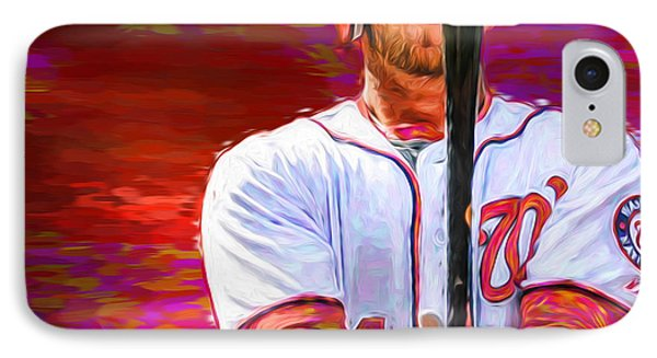Bryce Harper Mlb Washington Nationals Baseball Painted Digitally IPhone Case by David Haskett