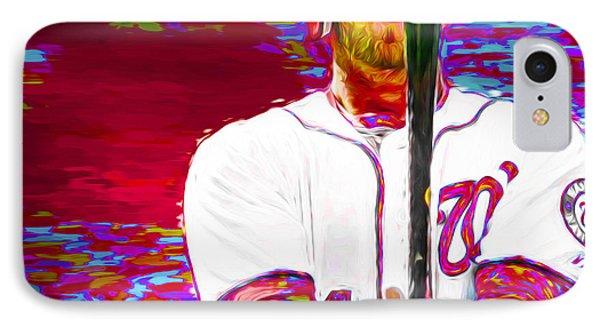 Bryce Harper Washington Nationals Mlb Baseball Painting Digital IPhone Case by David Haskett