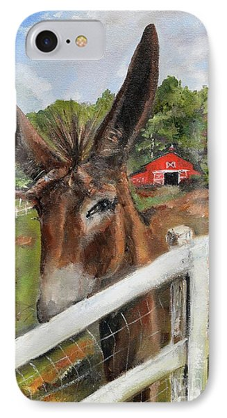 IPhone Case featuring the painting Bubba - Steals The Show -donkey by Jan Dappen