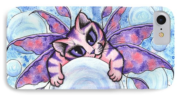 IPhone Case featuring the painting Bubble Fairy Kitten by Carrie Hawks