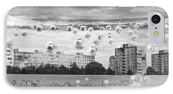 Bubbles And The City IPhone Case by John Williams