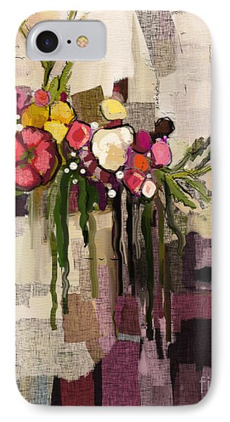 IPhone Case featuring the painting Bucket Of Flowers by Carrie Joy Byrnes