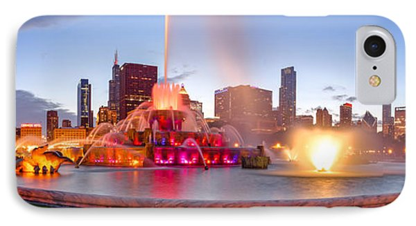 Buckingham Fountain Panorama At Twilight - Grant Park Chicago Illinois IPhone Case by Silvio Ligutti