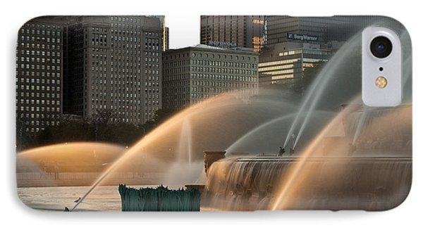 Buckingham Fountain Sidelight  IPhone Case by Steve Gadomski