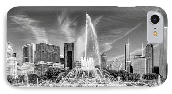 Buckingham Fountain Skyline Panorama Black And White IPhone Case by Christopher Arndt