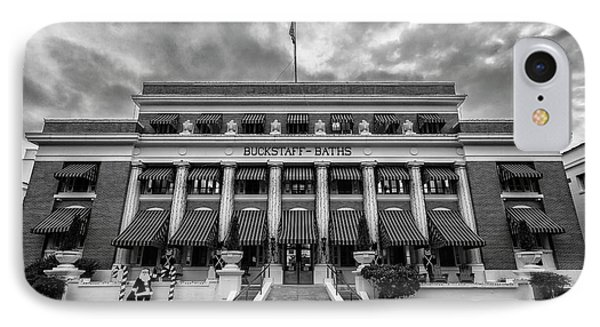 IPhone Case featuring the photograph Buckstaff Baths - Bw by Stephen Stookey
