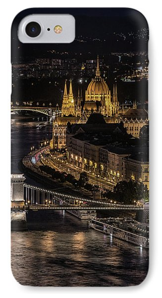 Budapest View At Night IPhone Case by Jaroslaw Blaminsky