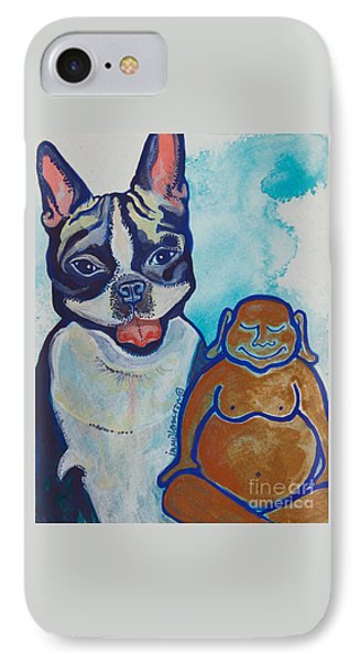 Buddha And The Divine Boston Terrier No. 1331 IPhone Case by Ilisa Millermoon
