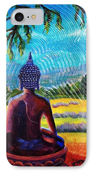 Buddha Atop The Lavender Farm IPhone Case by Janet McDonald