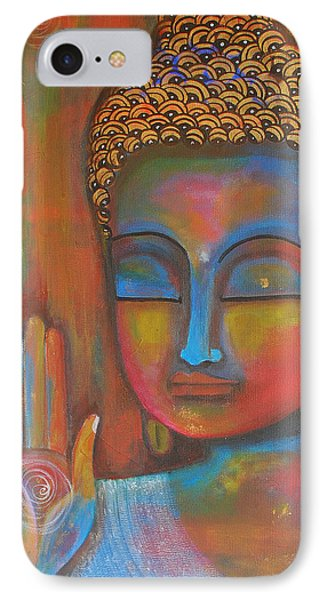 IPhone Case featuring the painting Buddha Blessings by Prerna Poojara