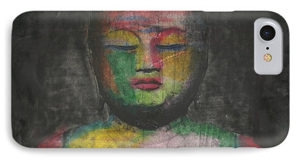 Buddha Encaustic Painting IPhone Case by Edward Fielding