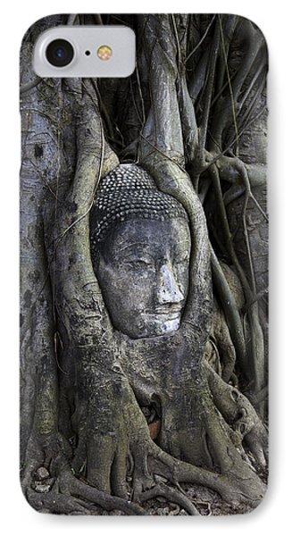Buddha Head In Tree Phone Case by Adrian Evans