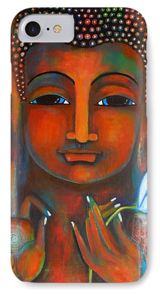 IPhone Case featuring the painting Buddha With A White Lotus In Earthy Tones by Prerna Poojara