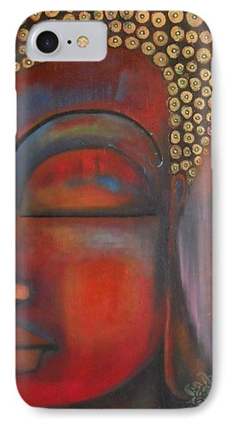 IPhone Case featuring the painting Buddha With Floating Lotuses by Prerna Poojara