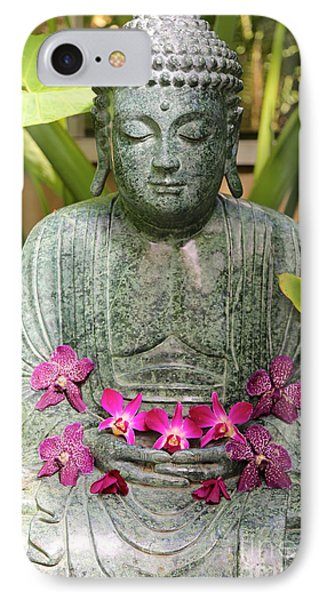 Buddha With Orchids IPhone Case by Carol Groenen