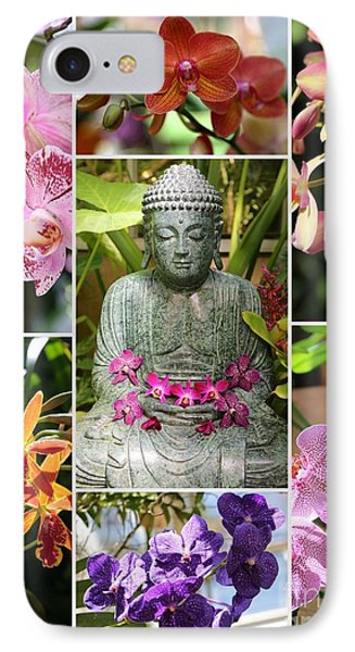 Buddha With Orchids Collage IPhone Case by Carol Groenen