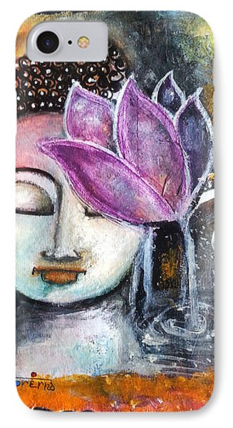 Buddha With Torn Edge Paper Look IPhone Case by Prerna Poojara