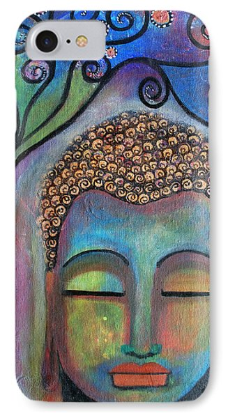 IPhone Case featuring the painting Buddha With Tree Of Life by Prerna Poojara