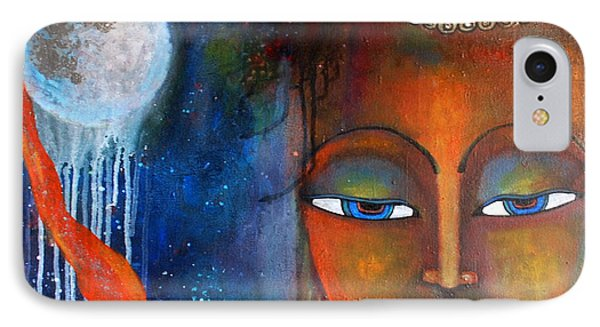IPhone Case featuring the painting Buddhas Robe Reaching For The Moon by Prerna Poojara