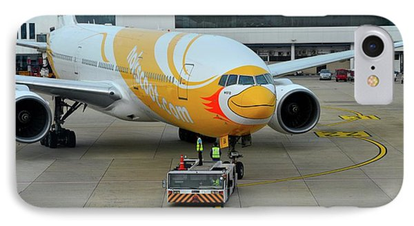 Budget Airline Nokscoot Jet Airplane Towed At Bangkok Suvarnabumi Airport Thailand IPhone Case by Imran Ahmed