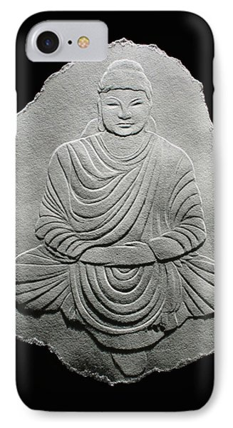 Budha - Fingernail Relief Drawing IPhone Case by Suhas Tavkar