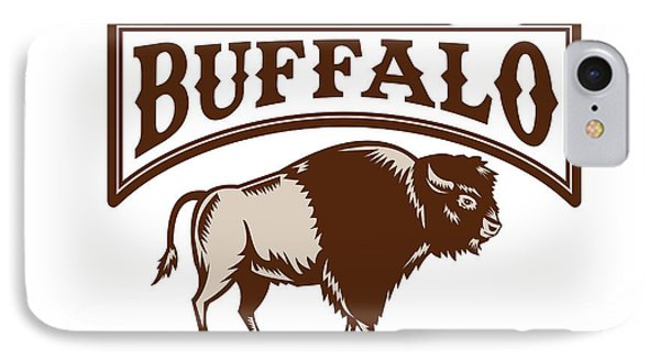 Buffalo American Bison Side Woodcut IPhone Case by Aloysius Patrimonio
