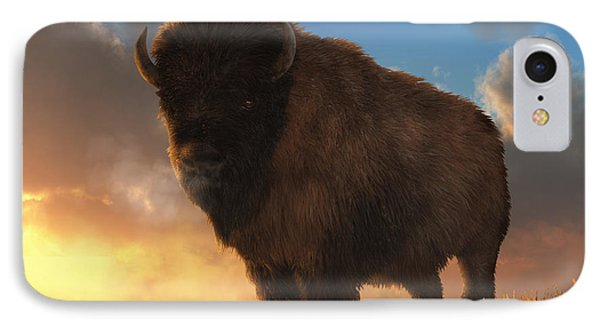 Buffalo At Dawn IPhone Case by Daniel Eskridge