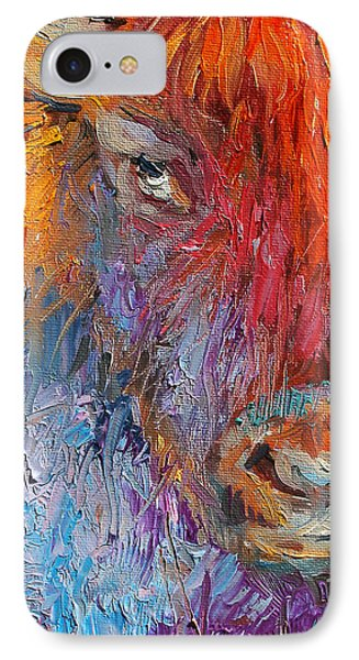 Buffalo Bison Wild Life Oil Painting Print IPhone Case by Svetlana Novikova