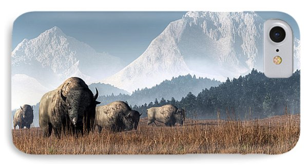 Buffalo Grazing IPhone Case by Daniel Eskridge