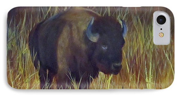 IPhone Case featuring the painting Buffalo Grazing by Roseann Gilmore