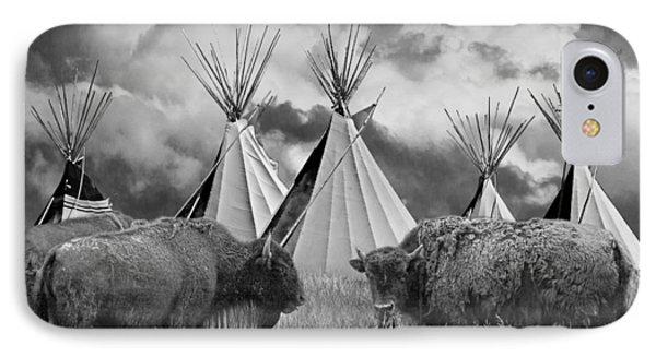 Buffalo Herd Among Teepees Of The Blackfoot Tribe IPhone Case