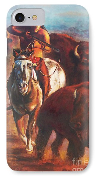 IPhone Case featuring the painting Buffalo Hunt by Karen Kennedy Chatham